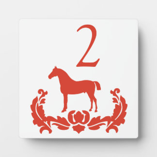 Red and White Damask Horse Table Number Display Plaque