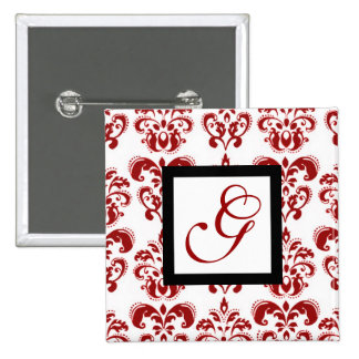 RED AND WHITE DAMASK MONOGRAM 15 CM SQUARE BADGE