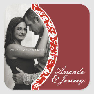 Red and White Damask Photo Wedding Square Sticker