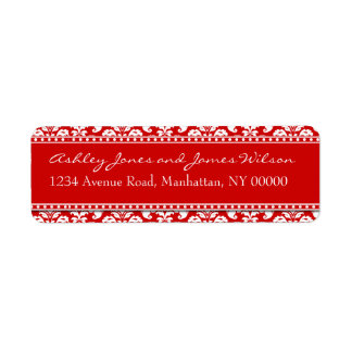 Red and White Damask Return Address Labels