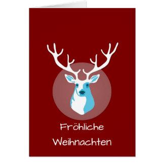 Red And White Deer Fröhliche Weihnachten Card