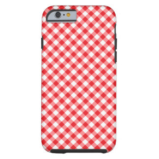 Red and white diagonal Gingham pattern case