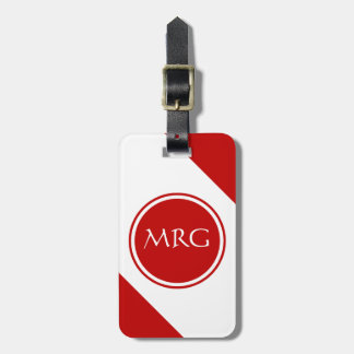 Red and White Diagonal Stripes Luggage Tag