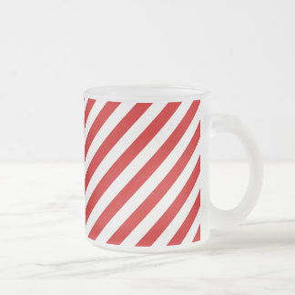 Red and White Diagonal Stripes Pattern Frosted Glass Coffee Mug