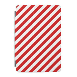 Red and White Diagonal Stripes Pattern iPad Mini Cover