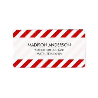 Red and White Diagonal Stripes Pattern Label