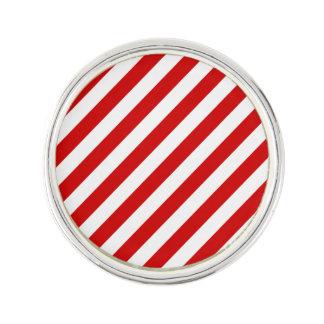 Red and White Diagonal Stripes Pattern Lapel Pin