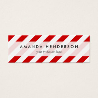 Red and White Diagonal Stripes Pattern Mini Business Card