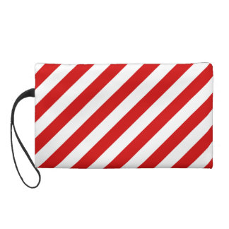 Red and White Diagonal Stripes Pattern Wristlet