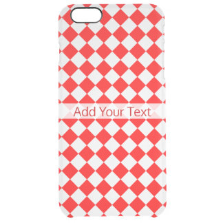 Red And White Diamond Pattern by ShirleyTaylor Clear iPhone 6 Plus Case
