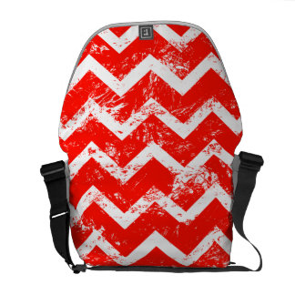 Red and white distressed chevron courier bag