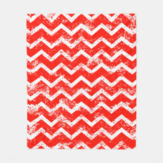Red and white distressed chevron fleece blanket