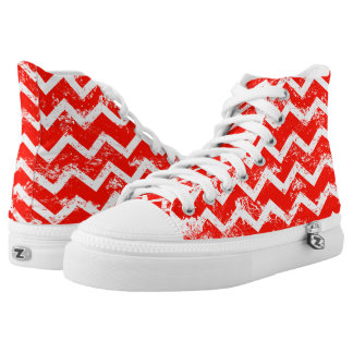 Red and white distressed chevron high tops