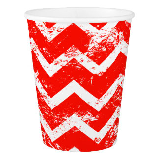 Red and white distressed chevron paper cup