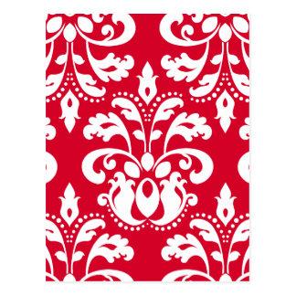 Red and white elegant Christmas damask version 1 Postcard