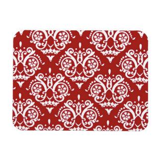 Red and White Elegant Damask Rectangular Photo Magnet