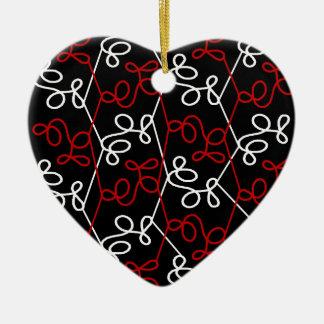 Red and white elegant pattern ceramic heart decoration