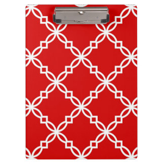 Red and White Fancy Quatrefoil Pattern Clipboards