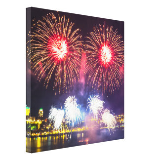 Red and White Fireworks Canvas Print