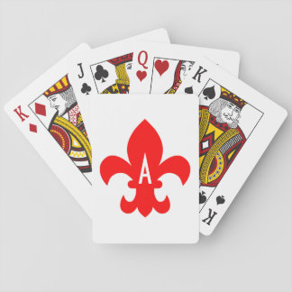 Red and White Fleur de Lis Monogram Playing Cards