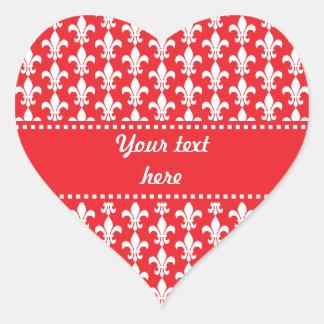 Red and White Fleur de Lis Pattern Heart Sticker