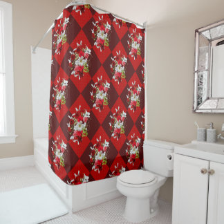 Red and White Floral Bouquet Shower Curtain