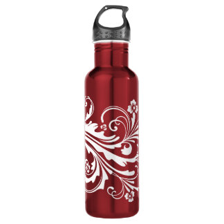 Red and White Floral Chic 710 Ml Water Bottle