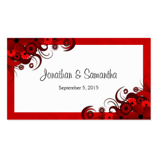 Red and White Floral Custom Wedding Favour Tags Pack Of Standard Business Cards