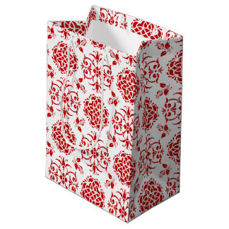 Red and White Floral Damask Style Pattern Medium Gift Bag