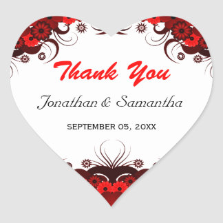 Red and White Floral Heart Wedding Favor Sticker