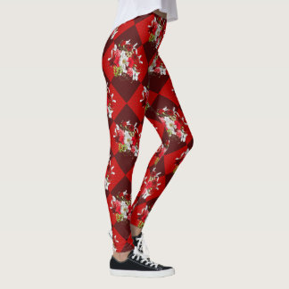 Red and White Floral Leggings