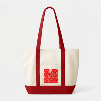 Red And White Floral Medical Scrubs Impulse Tote Bag