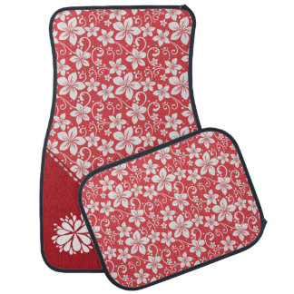 Red and White Floral Pattern Car Mat Set
