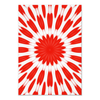 "Red and White Floral Pattern 3.5"" X 5"" Invitation Card"