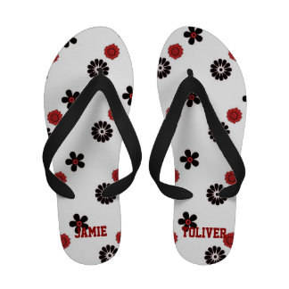 Red and White Floral Plaid Flip Flops