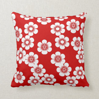 Red and white floral print pattern cushion