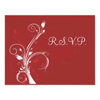 Red and White Floral RSVP Card