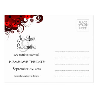 Red and White Floral Save The Date Postcards