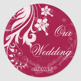 Red and White Floral Wedding Envelope Seal Classic Round Sticker