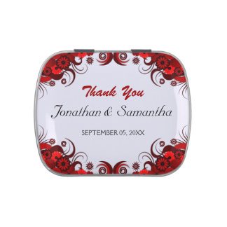 Red and White Floral Wedding Favor Candy Tins