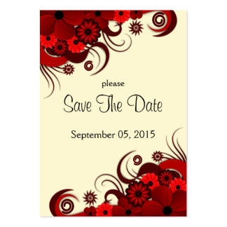 Red and White Floral Wedding Save The Date Cards Pack Of Chubby Business Cards