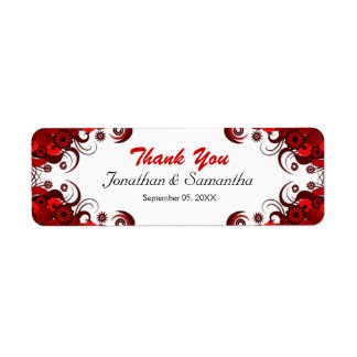 Red and White Floral Wedding Small Favor Labels