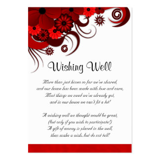 Red and White Floral Wedding Wishing Well Cards Pack Of Chubby Business Cards