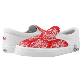 Red and White Floral Zipz Slip On Shoe Printed Shoes