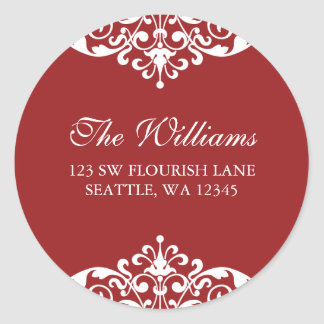 Red and White Flourish Scroll Address Label Round Sticker