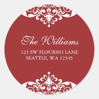 Red and White Flourish Scroll Address Label Classic Round Sticker