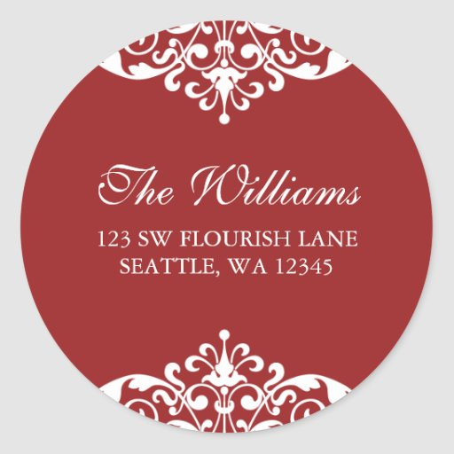 Red and White Flourish Scroll Address Label Round Sticker