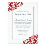 Red and White Flourish Swirls Wedding Invitation