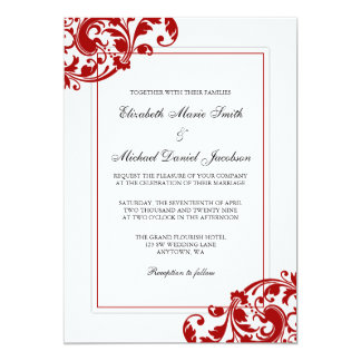 Red and White Flourish Swirls Wedding 13 Cm X 18 Cm Invitation Card