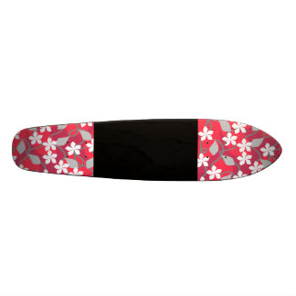 Red and White Flowers. Floral Pattern. Skate Boards